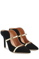 Malone Souliers Velvet Mules With Metallic Leather Black