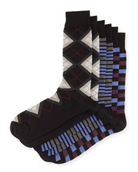 Men's Assorted Sock Three Pair Set Argyle Mix Neiman Marcus