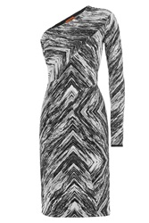 Missoni Zigzag Print Wool One Shoulder Dress Multicolor