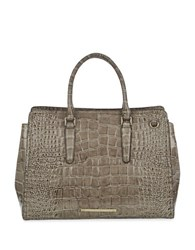 Brahmin Finley Crocodile Embossed Leather Carryall Portsmouth Beige