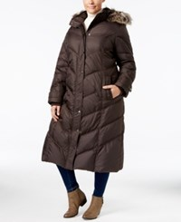 London Fog Plus Size Faux Fur Hood Down Puffer Coat Brown
