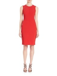 Piazza Sempione Sleeveless Cady Sheath Dress Red