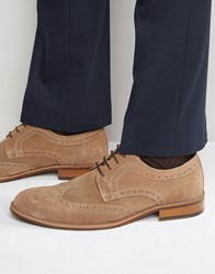 Dune Radcliffe Suede Derby Brogue Shoes Beige