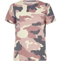 River Island Womens Pink Camouflage Print T Shirt