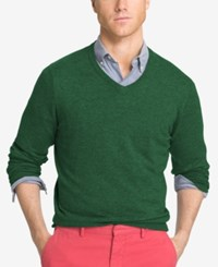 Izod Men's V Neck Sweater Verdant Green Heather