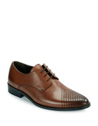 Kenneth Cole Reaction Last Laugh Perforated Toe Leather Derby Shoes Cognac