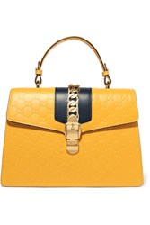 Gucci Sylvie Embossed Leather Tote Yellow