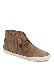 Frye Dylan Suede Fringe Chukka Boots Grey Tan