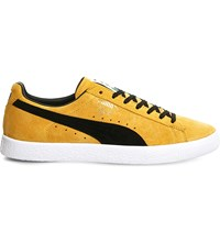 Puma Clyde Lace Up Suede Trainers Bright Gold Black
