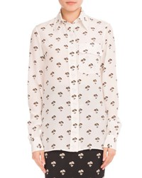 Victoria Beckham Floral Print Silk Blouse White Black Orange White Black Orang
