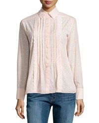 See By Chloe Pleated Front Dot Print Shirt Pink