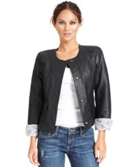 Kut From The Kloth Long Sleeve Faux Leather Jacket Black