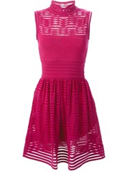 M Missoni Sheer Stripe Mini Dress Pink And Purple