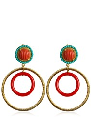 Katerina Psoma Nuwa Gold And Glass Circle Earrings