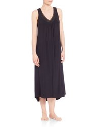 Oscar De La Renta Sleepwear Luxe Knit Gown Pale Blue Black