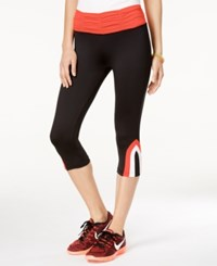 Energie Active Juniors' Hudson Ruched Waist Cropped Leggings Caviar Fiery Coral