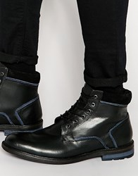 Dune Lace Up Boots In Black Leather Black