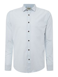 Only And Sons Stripe Long Sleeve Button Through Shirt Light Blue