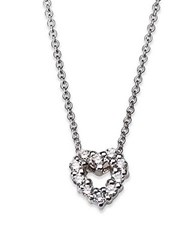 Roberto Coin Tiny Treasures Diamond And 18K White Gold Mini Heart Pendant Necklace