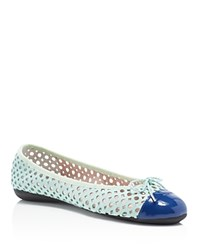 Paul Mayer Brandy Perforated Ballet Flats Azulon Aqua