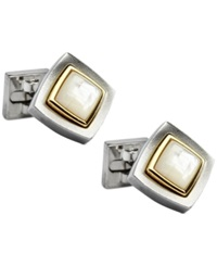 Ike Behar Diamond Shaped Jeweled Center Cufflinks White