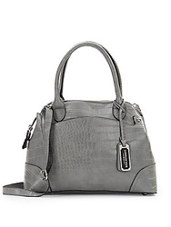 London Fog Crocodile Embossed Faux Leather Dome Satchel