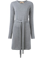 N 21 Nao21 Belted Knit Dress Grey
