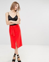 Warehouse Belted Skirt Red