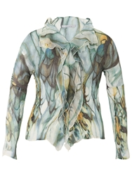 Chesca Smoke Print Crush Pleat Blouse Khaki