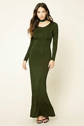 Forever 21 Crisscross Back Maxi Dress Olive