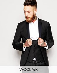 Noose And Monkey Tuxedo Suit Jacket With Stretch And Contrast Satin Lapel In Skinny Fit Black