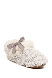 Chinese Laundry Short Knit Faux Fur Trim Bootie Gray