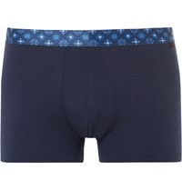 Derek Rose Band Stretch Cotton Boxer Briefs Blue