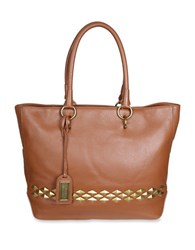 Badgley Mischka Carol Studded Leather Tote Cognac