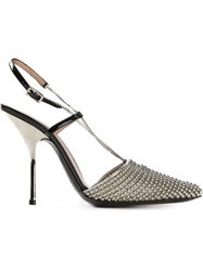 Giorgio Armani Embellished Pointed Toe Sandals Metallic
