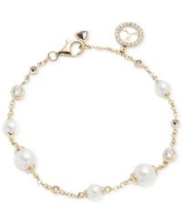 Judith Jack Gold Tone Imitation Pearl Crystal And Marcasite Link Bracelet