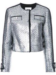 Msgm Metallic Grey Tweed Jacket