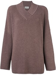 Lanvin Oversize V Neck Jumper Pink And Purple