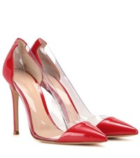 Gianvito Rossi Plexi Patent Leather And Transparent Pumps Red