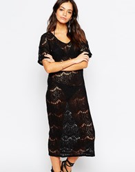 First And I All Over Lace Beach Cover Up Black