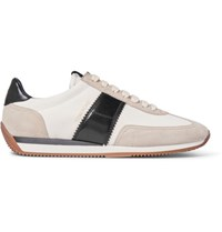 Tom Ford Leather And Suede Panelled Canvas Sneakers Off White