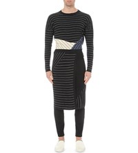 Thamanyah Stripe Cashmere And Cotton Blend Skirt Black White