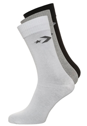 Converse Basic Crew 3 Pack Socks Mid Grey Melange White Grey Black