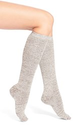 Women's Lemon 'Eyelash' Cotton Blend Knee High Socks Beige Walnut