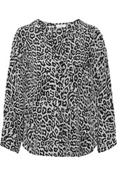 Joie Purine Leopard Print Silk Top Black