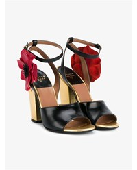 Laurence Dacade Magic Poppy Open Toe Sandals Black Red White