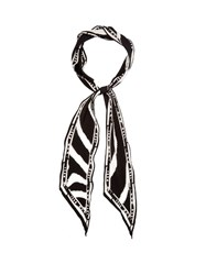 Rockins Zebra Print Super Skinny Silk Scarf Black White
