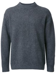 H Beauty And Youth. Crew Neck Knit Jumper Grey