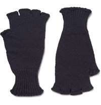Margaret Howell Mhl Ribbed Wool Fingerless Gloves Midnight Blue