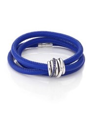 De Grisogono Allegra Blue Sapphire 18K White Gold And Leather Wrap Bracelet Denim